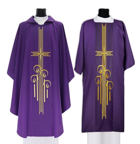 Set of Gothic chasuble and dalmatic Advent model 527