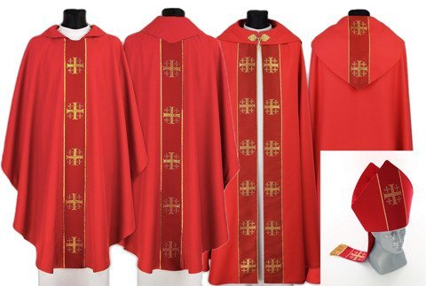 Set of Gothic Cope, chasuble and mitre Jerusalem Crosses model 103