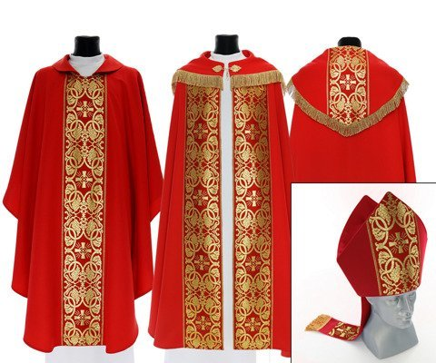 Set of Gothic Cope, chasuble and mitre model 005