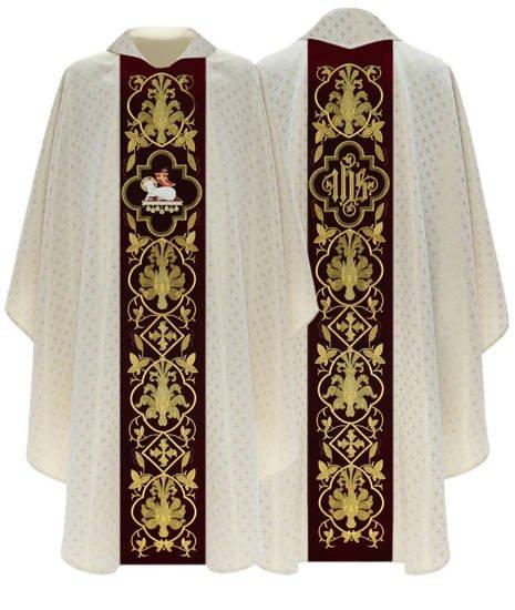 Cream Gothic Chasuble Lamb model 814