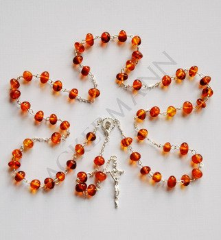 Silver Rosary with Baltic ambers