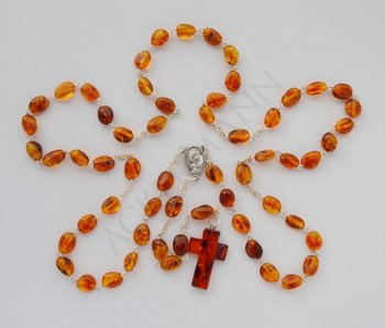 Silver Rosary with Baltic ambers cross