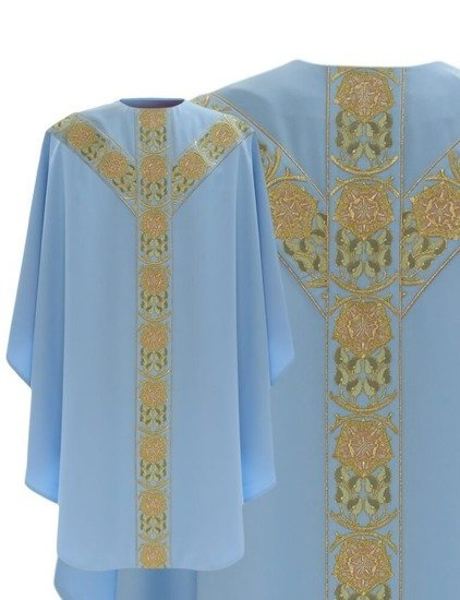 Blue Marian Semi Gothic Chasuble model 770