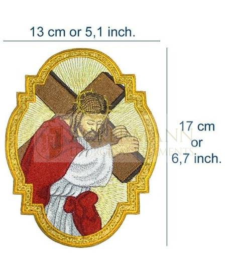 Embroidered Applique Jesus Carrying the Cross