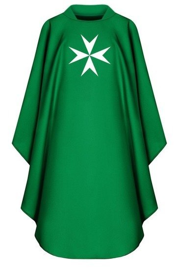 Green Gothic Chasuble Maltese Cross model 780