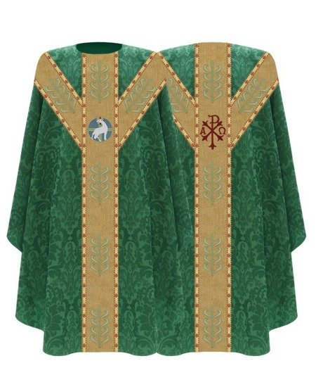 Green Semi Gothic Chasuble Lamb model 791